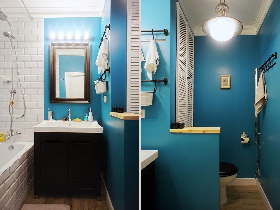 Дизайн ванной комнаты с покраской